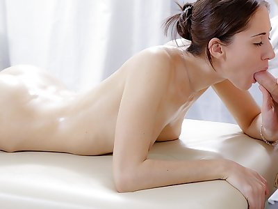 Hard-core rubdown flick of adorable dark-haired nailed in the rump
